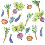 Composi??o redonda dos vegetais Gr?fico linear Fundo dos vegetais Estilo escandinavo Alimento saud?vel Ilustra??o ilustração do vetor