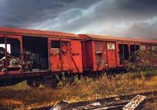 Composición abandonada del tren Foto de archivo