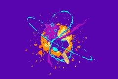 Composición abstracta colorida viva con helado, los objetos geométricos, el chapoteo y otros diversos elementos del diseño Illust ilustración del vector