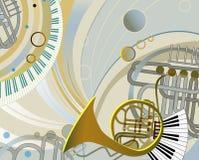 Composición abstracta con los instrumentos musicales Foto de archivo