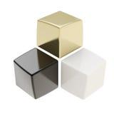 Composición abstracta de cubos de oro y blancos negros stock de ilustración