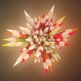 Composición abstracta de los lápices coloreados rodeados por diseño ligero de la plantilla del fondo de la niebla representación  ilustración del vector
