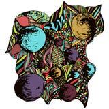 Composición abstracta del garabato Ornamento brillante, multicolor, dibujo de una variedad de elementos decorativos, adorno de la Fotos de archivo