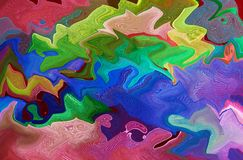 Composición abstracta en colores verdes, anaranjados, azules y rojos Imagen de archivo