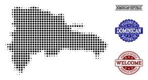 Composición agradable del mapa de semitono de la República Dominicana y de sellos texturizados ilustración del vector