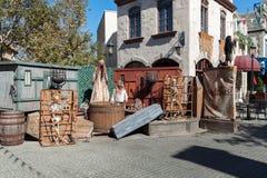 Composición al aire libre de Halloween con los esqueletos, las brujas y el ataúd Fotos de archivo libres de regalías