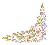 Composición angular de la flor de la acuarela en blanco libre illustration