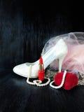 Composición atractiva hecha de los talones blancos, del lápiz labial rojo y del vestido rosado Foto de archivo