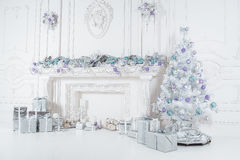 Composición blanca del árbol del Año Nuevo Fotos de archivo libres de regalías