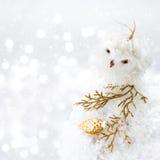 Composición brillante de la Navidad con las decoraciones y nieve en Defocu Fotografía de archivo