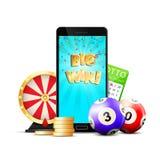 Composición colorida del casino en línea de la lotería stock de ilustración
