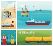 Composición colorida plana de la industria de petróleo stock de ilustración