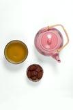 Composición con el conjunto de té Imagen de archivo libre de regalías