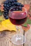 Composición con el vidrio de vino rojo y de uvas en el primer de madera de la tabla Fotografía de archivo libre de regalías