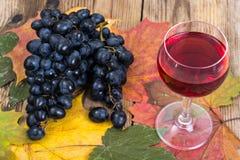 Composición con el vidrio de vino rojo y de uvas en el primer de madera de la tabla Imagen de archivo