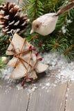 composición con la estrella y la rama del árbol de navidad Foto de archivo
