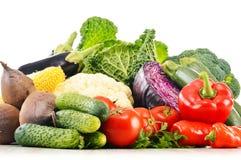 Composición con la variedad de verduras orgánicas crudas frescas Imágenes de archivo libres de regalías