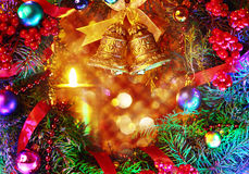Composición con las decoraciones de la Navidad Imagenes de archivo