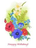 Composición con las flores del verano: amapola, narciso, anémona, viole Imagen de archivo