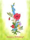 Composición con las flores del verano: amapola, narciso, anémona, viole Imágenes de archivo libres de regalías