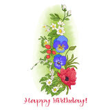 Composición con las flores del verano: amapola, narciso, anémona, viole Fotos de archivo