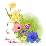 Composición con las flores del verano: amapola, narciso, anémona, viole Fotografía de archivo