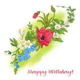 Composición con las flores del verano: amapola, narciso, anémona, viole Imagen de archivo libre de regalías
