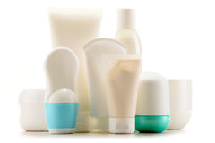 Composición con los envases de productos del cuidado y de belleza del cuerpo Fotos de archivo libres de regalías
