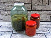 Composición con los tarros de vehículos conservados en vinagre Alimento adobado imagen de archivo libre de regalías
