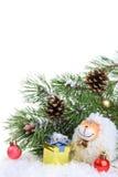 Composición con una oveja - un símbolo del Año Nuevo de 2015 en la caloría del este Imagen de archivo libre de regalías