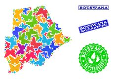 Composición de ahorro de la naturaleza del mapa de Botswana con las mariposas y los sellos texturizados libre illustration