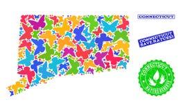 Composición de ahorro de la naturaleza del mapa del estado de Connecticut con las mariposas y las filigranas rasguñadas ilustración del vector