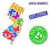 Composición de ahorro de la naturaleza del mapa del estado de New Jersey con las mariposas y los sellos del Grunge stock de ilustración