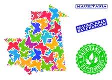 Composición de ahorro de la naturaleza del mapa de Mauritania con las mariposas y los sellos de goma libre illustration