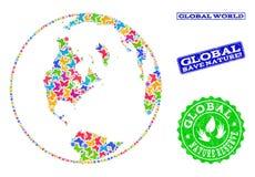 Composición de ahorro de la naturaleza del mapa del mundo global con las mariposas y los sellos de la desolación stock de ilustración