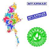 Composición de ahorro de la naturaleza del mapa de Myanmar con las mariposas y las filigranas del Grunge stock de ilustración