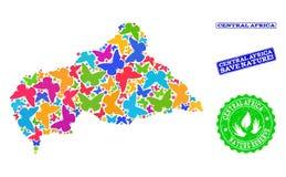 Composición de ahorro de la naturaleza del mapa de la República Centroafricana con las mariposas y las filigranas de goma stock de ilustración