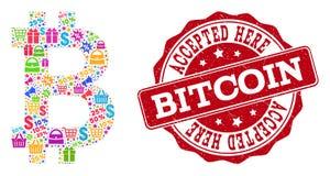 Composición de Bitcoin del mosaico y sello rasguñado para las ventas libre illustration