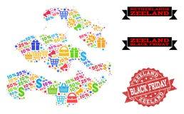 Composición de Black Friday del mapa de mosaico de la provincia de Zelanda y del sello del Grunge stock de ilustración