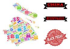 Composición de Black Friday del mapa de mosaico del municipio de Shangai y del sello de la desolación stock de ilustración