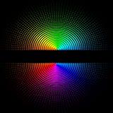 Composición de bolas coloreadas redondas en un fondo negro ilustración del vector