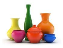 Composición de floreros de cerámica Imagen de archivo libre de regalías