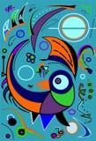 Composición de formas coloridas abstractas, pájaro estilizado en el azul -18-68 Fotografía de archivo
