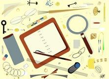 Composición de formas coloridas abstractas, plan de escritorio desordenado 17 -269 Fotos de archivo