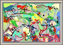 Composición de formas coloridas abstractas, verde, rojo, negro, en el fondo blanco 17 -268 Imagen de archivo