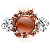 Composición de Grunge con el botón brillante stock de ilustración