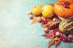 Composición de la acción de gracias de la calabaza de otoño en un fondo azul Foto de archivo libre de regalías