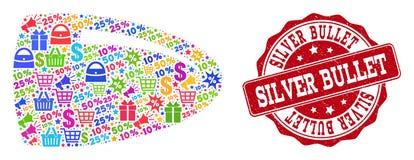 Composición de la bala del mosaico y sello de la desolación para las ventas libre illustration