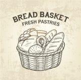 Composición de la cesta del pan Vector el bosquejo del colllection de la hornada, diseño realista, simple Foto de archivo libre de regalías