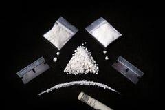 Composición de la cocaína, de la maquinilla de afeitar y de la cuenta rodada, mA Foto de archivo